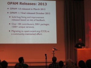 Anil Madhavapeddy presenting the OPAM package manager and platform